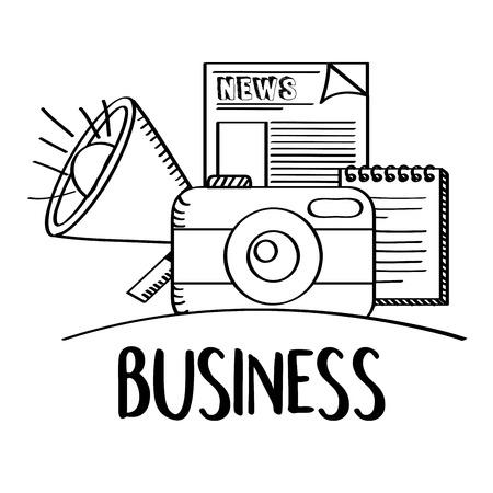 ビジネスフォロカメラスピーカーニュース落書きベクトル図  イラスト・ベクター素材