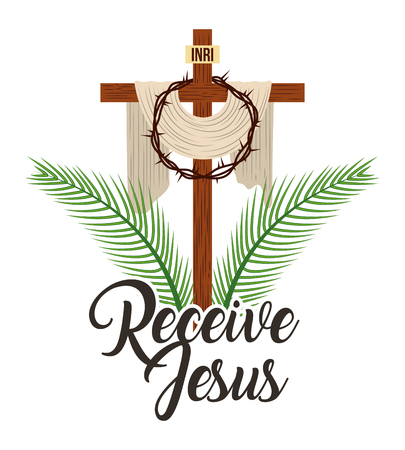 receive jesus sacred cross and crown thorns vector illustration