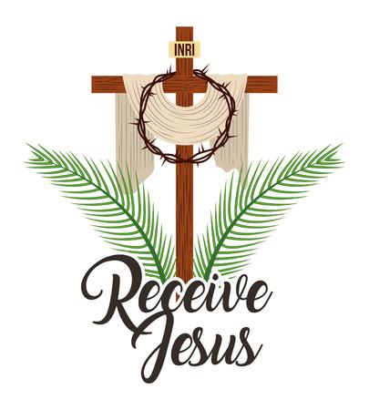receive jesus sacred cross and crown thorns vector illustration Standard-Bild - 96680524