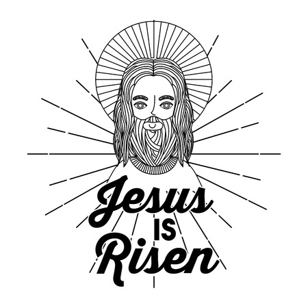 jesus is risen hand drawing image vector illustration