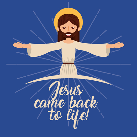 jesus come back to life catholicism vector illustration