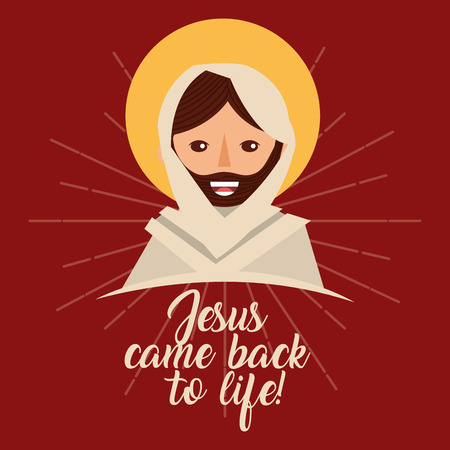 jesus come back to life christianity religion vector illustration Illustration