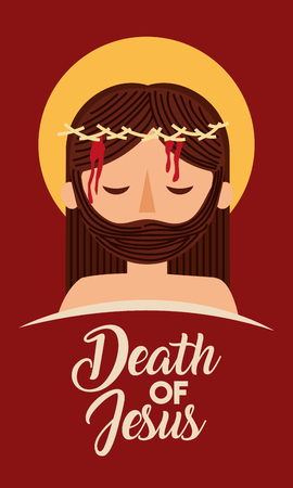death of jesus with crown thorns vector illustration Stock Illustratie