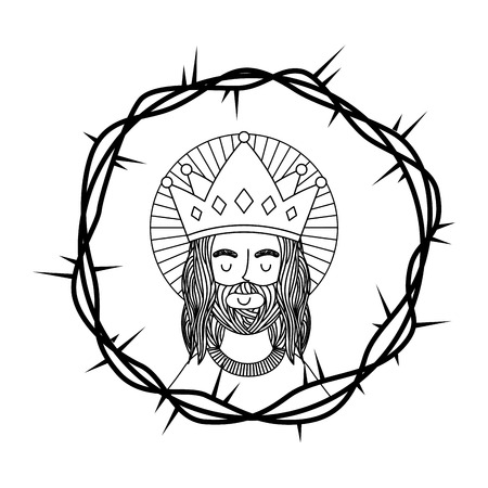 engraving jesus and crown thorns vector illustration