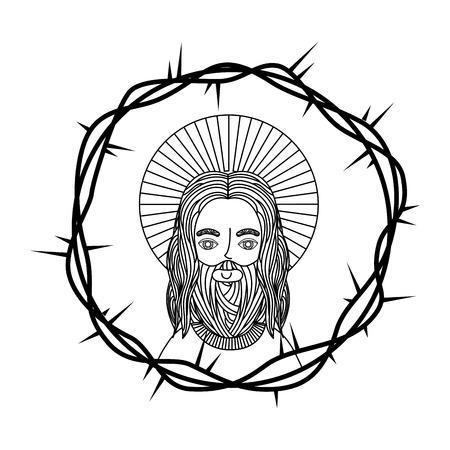 engraving face sacred jesus crown thorns vector illustration