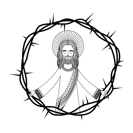 engraving pray jesus open arms crown thorns vector illustration