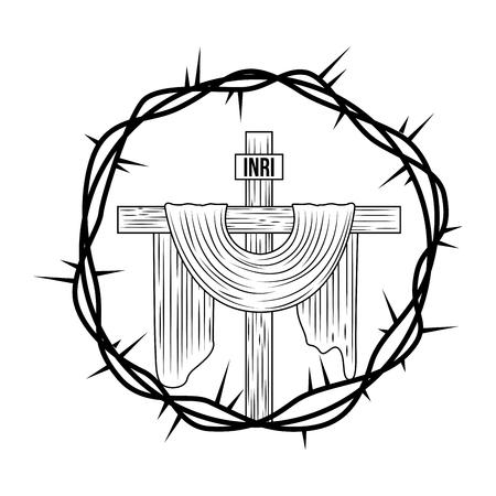 engraving sacred cross crown thorns vector illustration