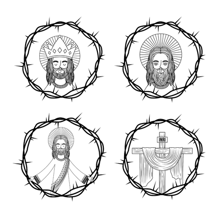 set of sacred jesus cross with crown thorns hand drawing vector illustration