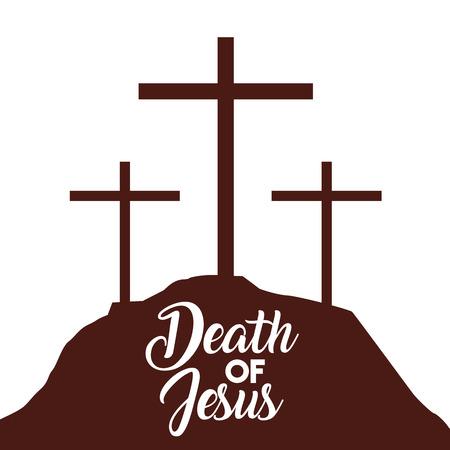 death of jesus three crosses in hill vector illustration 일러스트