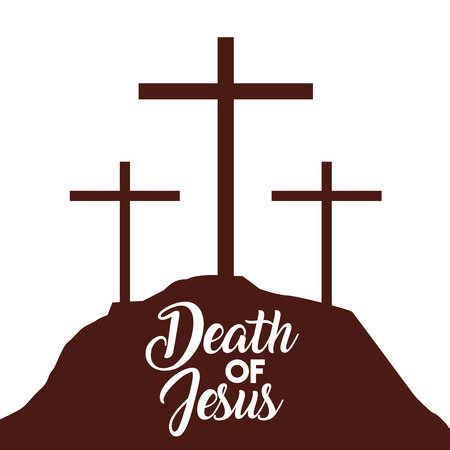 death of jesus three crosses in hill vector illustration Иллюстрация