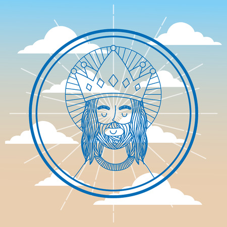 jesus using crown label sky background vector illustration