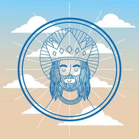 jesus using crown label sky background vector illustration
