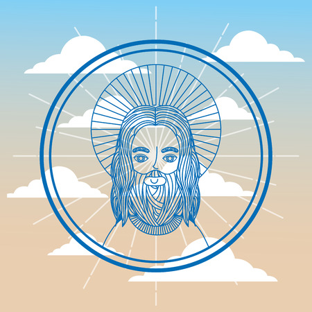 jesus religious sacred sky background vector illustration