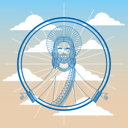 jesus praying religious sky background vector illustration