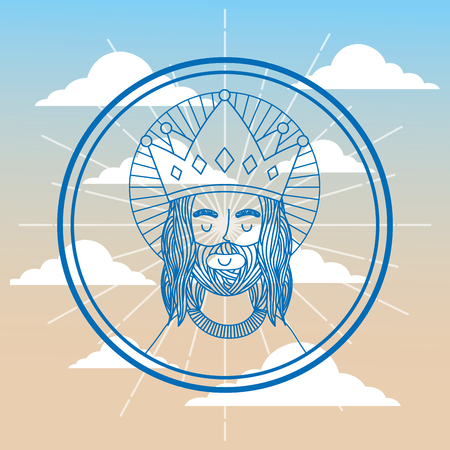 jesus using crown label sky background vector illustration Imagens - 96680403