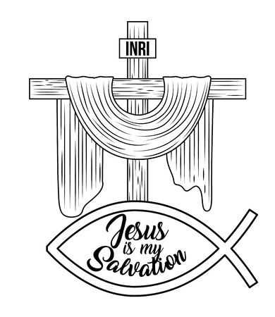 jesus is my salvation sacred cross hand drawing image vector illustration