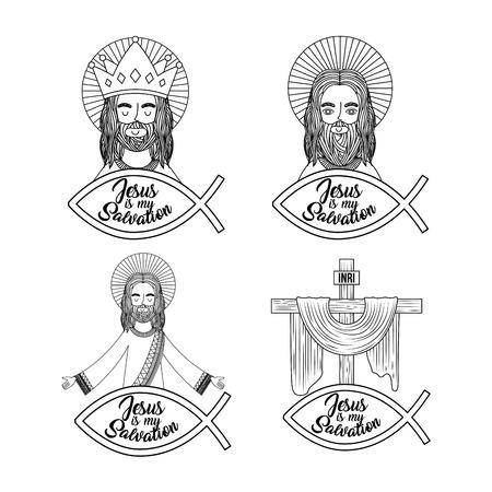 set jesus is my salvation pray bless vector illustration Illustration