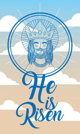jesus using crown in heaven - he is risen vector illustration