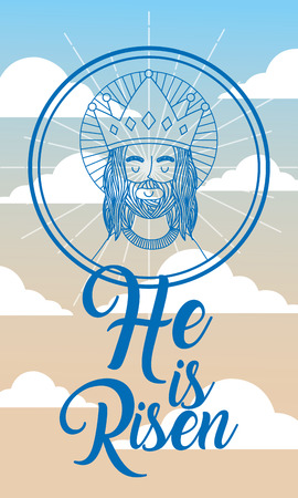 jesus using crown in heaven - he is risen vector illustration