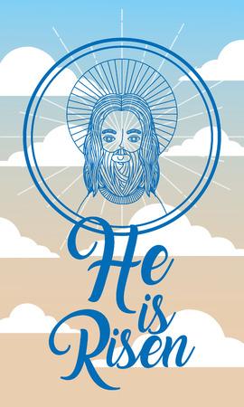 jesus face in heaven - he is risen vector illustration