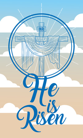 sacred cross in heaven religion - he is risen vector illustration Ilustração