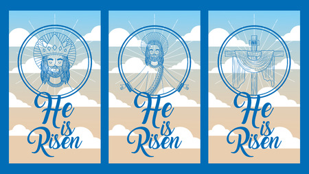 collection banners he is risen jesus in heaven image vector illustration Illustration