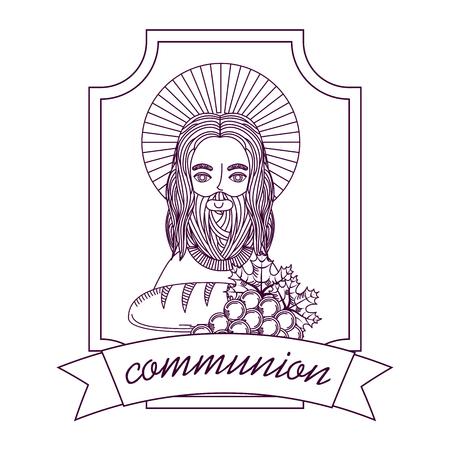예수 빵과 포도 첫 영성체 손을 그리기 레이블 벡터 일러스트 레이 션 스톡 콘텐츠 - 96680438