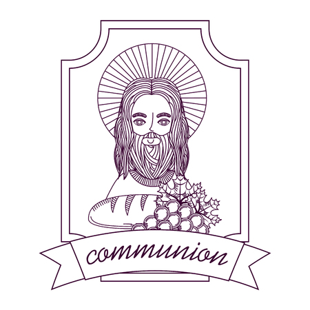 jesus bread and grape first communion hand drawing label vector illustration