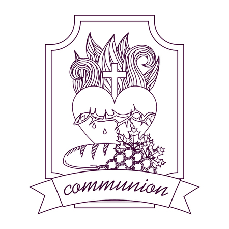 sacred heart of jesus communion bread and grape hand drawing label vector illustration