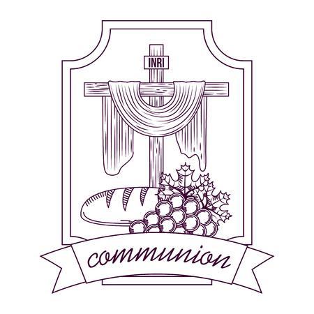 Cruz sagrada comunión pan y racimo uvas dibujo a mano etiqueta ilustración vectorial Foto de archivo - 96680440