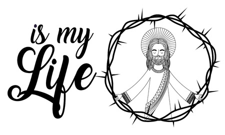 jesus is my life praying crown thorns vector illustration