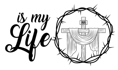 sacred cross is my life religion crown thorns vector illustration
