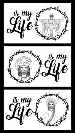 jesus is my life banners crown thorns spiritual vector illustration