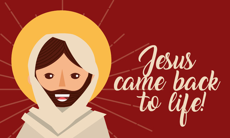 jesus come back to life spiritual religion card vector illustration Illustration