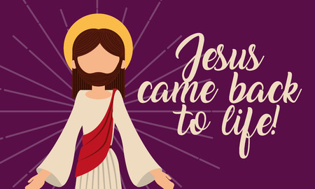 jesus come back to life pray card vector illustration Vettoriali