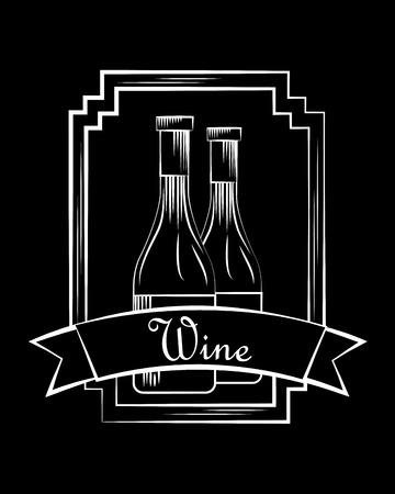 wine glass bottles beverage stamp frame ribbon black vector illustration
