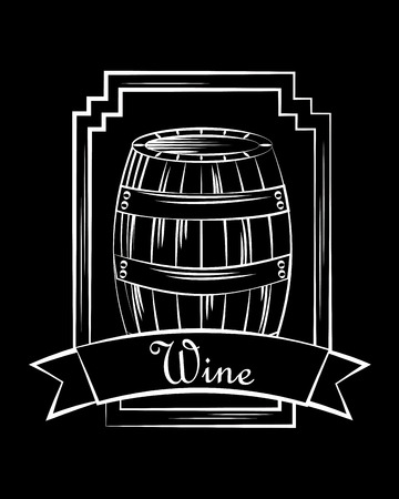 wine wooden barrel beverage stamp frame ribbon black vector illustration