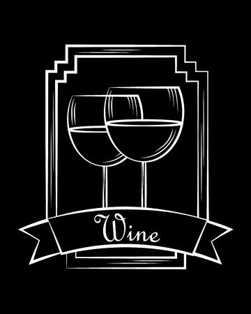 wine glass cups beverage stamp frame ribbon black vector illustration