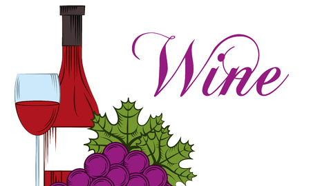 wine glass bottle cup and grapes fruit drink template banner vector illustration