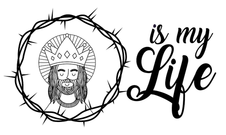jesus using crown is my life crown thorns banner vector illustration