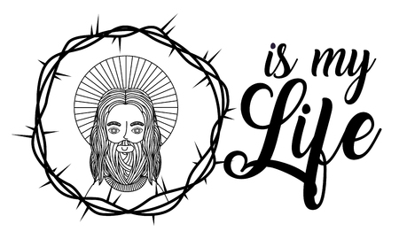 jesus is my life crown thorns banner vector illustration