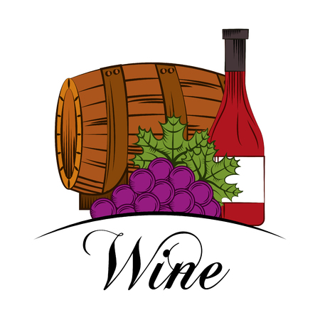 wine drink wooden barrel grapes and bottle vector illustration Ilustrace