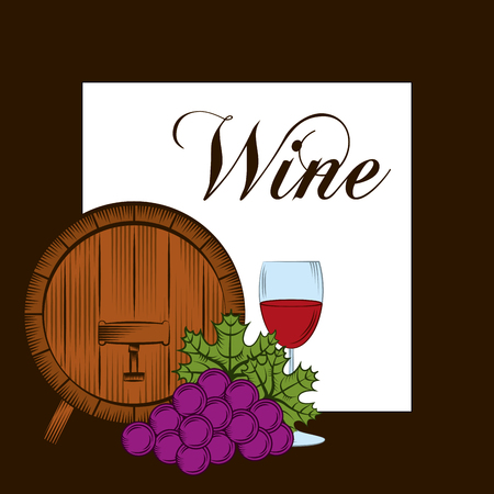 Wine barrel grapes glass cup drink alcohol card vector illustration.