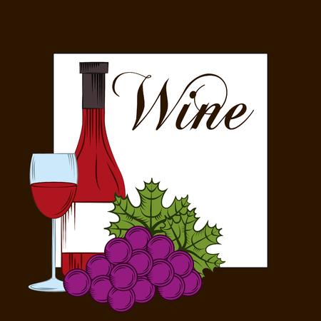 Wine grape bottle bunch glasses cup drink alcohol card vector illustration. Illustration