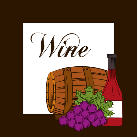 Wine wooden barrel grapes and bottle drink alcohol card vector illustration.