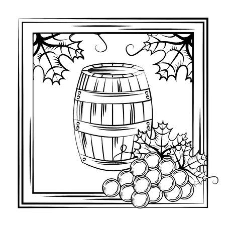 Vintage wine label wood barrel frame leaves decoration vector illustration. 向量圖像