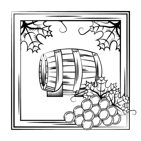 Vintage wine label wood cask on stand frame leaves decoration vector illustration.