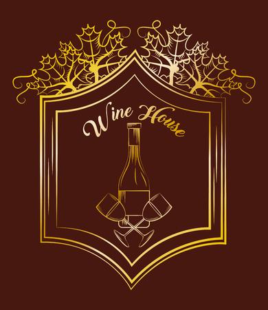 Wine house glass bottle elegance vintage gold label brown background, vector illustration.