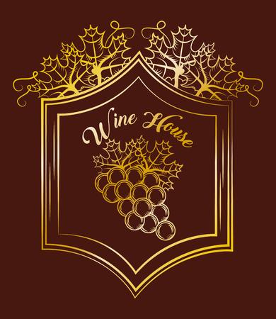 Wine house bunch grapes elegance vintage gold label brown background, vector illustration.