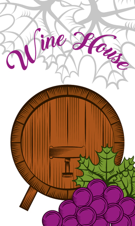 Wine house wooden cask and grapes winery vertical banner vector illustration.